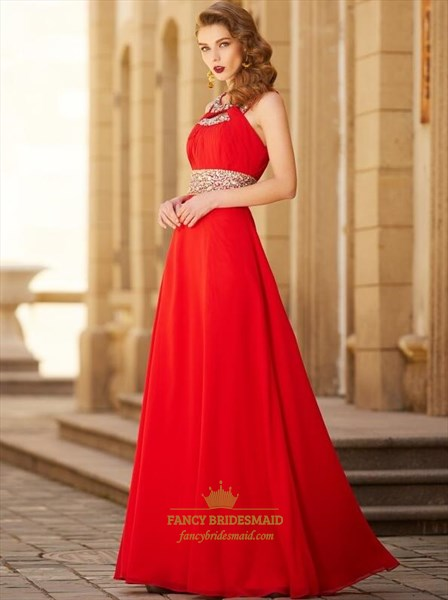 Red Halter Beaded Sleeveless Keyhole Ruched Prom Dress With Split