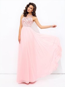 A Line High Neck Sleeveless Beaded V Back Pleated Chiffon Prom Dress