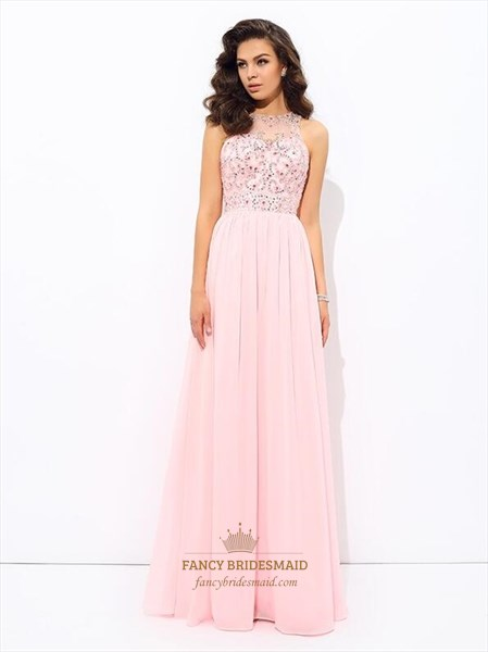 A Line High Neck Sleeveless Beaded V Back Pleated Chiffon Prom Dress