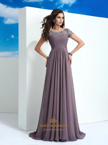 A Line Bateau Beaded Short Sleeve Ruched Chiffon Dress With Train