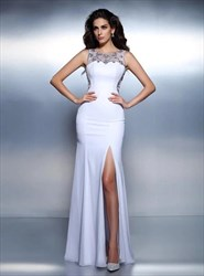 White Bateau Sleeveless Sheer Beaded Back Prom Dress With Split