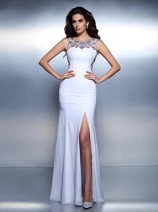 White Bateau Sleeveless Sheer Beaded Back Prom Dress With Split