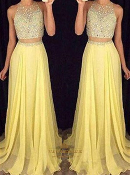 A Line Yellow High Neck Beaded Pleated Chiffon Two Piece Prom Dress