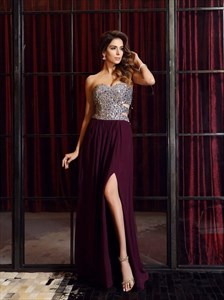Burgundy Beaded Sweetheart Side Cutout Chiffon Prom Dress With Slits