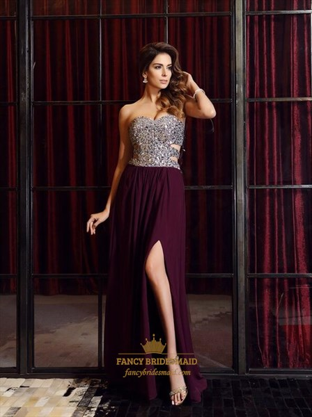 Burgundy Beaded Sweetheart Side Cutout Chiffon Prom Dress With Slits