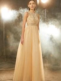 Champagne A Line Bateau Sleeveless Beaded Keyhole Tulle Prom Dress