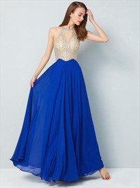 Royal Blue High Neck Beaded Bodice Keyhole Pleated Chiffon Prom Dress