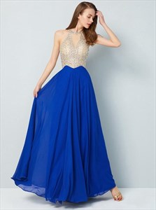 Royal Blue High Neck Beaded Bodice Keyhole Pleated Chiffon Prom Dress