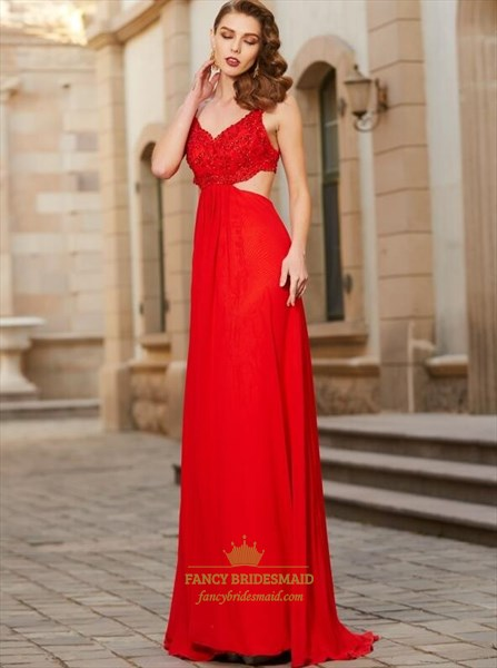 Red V Neck Beaded Side Cut Out Chiffon Floor Length Prom Dress