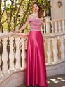 Fuchsia A Line Off The Shoulder Sleeveless Beaded Satin Prom Dress