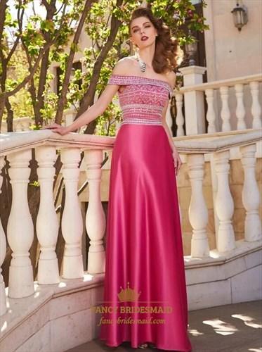 Fuchsia A Line Off The Shoulder Sleeveless Beaded Satin Prom Dress