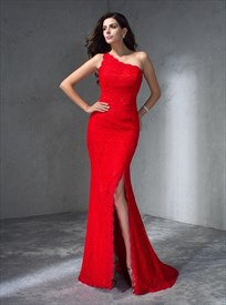 Simple Red One Shoulder Sheath Long Lace Prom Dresses With Split