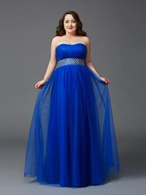 A Line Strapless Sleeveless Plus Size Prom Dresses With Beaded Waist