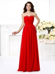 Red Illusion Neckline Strapless Pleated Chiffon Long Prom Dress