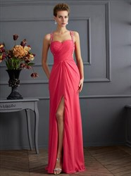 Watermelon Ruched Open Back Prom Dress With Beaded Straps And Split