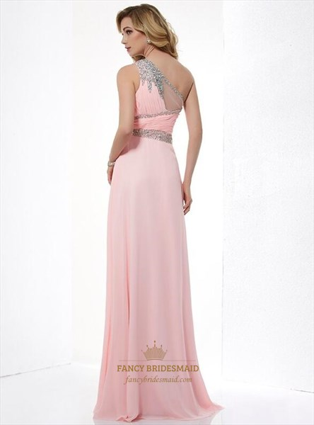 Pink One Shoulder Sleeveless Beaded Ruched Chiffon Long Prom Dress