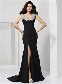 Black V Neck V Back Sheath Chiffon Prom Dress With Split And Train