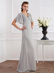 A Line Grey V Neck Short Sleeve Ruched Prom Dress With Lace Applique