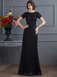Simple Black Short Sleeve Sheath Lace Prom Dress With Beaded Neckline