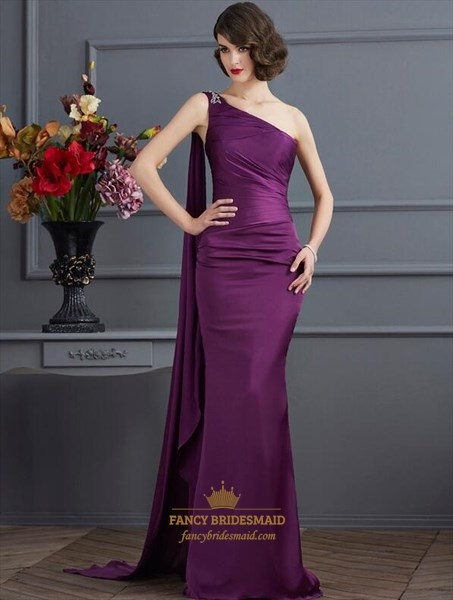 Purple One Shoulder Sleeveless Ruched Satin Prom Dress With Cape