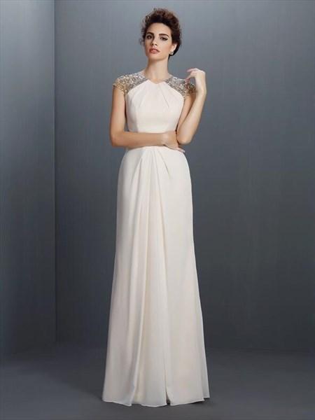 Ivory High Neck Beaded Cap Sleeve Chiffon Prom Dress With Keyhole