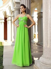 Lime Green One Shoulder Ruched Bodice Chiffon Gown With Beaded Straps