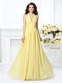 A Line Daffodil Halter Neck Sleeveless Pleated Chiffon Prom Dress