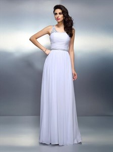 White V Neck Ruched Bodice A Line Long Prom Dress With Beaded Waist