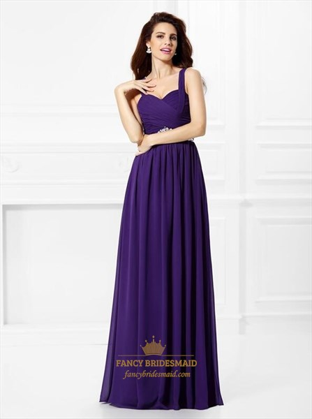 Purple Square Neck Sleeveless Pleated Chiffon Prom Dress With Crystal