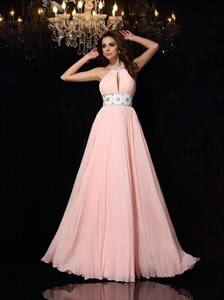 Pale Pink Halter Neck Beaded Pleated Chiffon Prom Dress With Keyhole