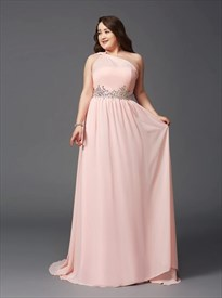 Pink Plus Size One Shoulder Chiffon Prom Dress With Crystal And Train