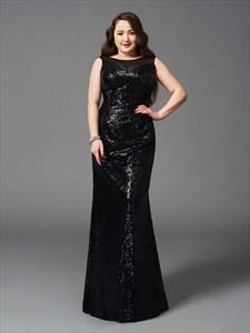Plus Size Bateau Sleeveless Black Sequin Prom Dress With Keyhole Back