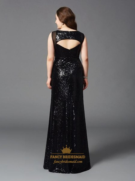 Plus Size Bateau Sleeveless Black Sequin Prom Dress With Keyhole Back