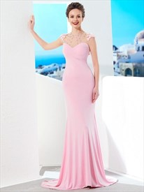 High Neck Beaded Illusion Back Sheath Prom Dress With Sweep Train