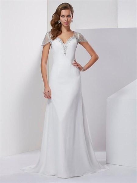 White V Neck Cap Sleeve Beaded Keyhole Chiffon Prom Dress With Train
