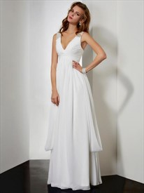 A Line White V Neck Sleeveless Beaded Pleated Chiffon Prom Dress