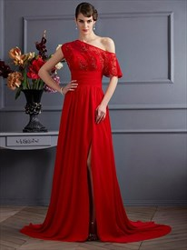 Red One Sleeve Ruched Waist Beaded Chiffon Prom Dress With Split