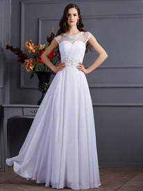 White Jeweled Neckline Cap Sleeve Chiffon Prom Dress With Keyhole