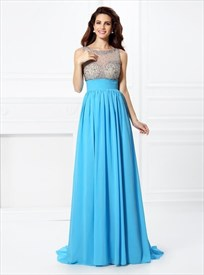Aqua Blue Bateau A Line Beaded Keyhole Chiffon Prom Dress With Train