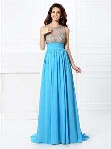 Aqua Blue Bateau A Line Beaded Keyhole Chiffon Prom Dress With Train