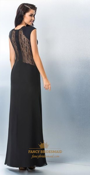 Black Jewel Neck Cap Sleeve Illusion Back Long Prom Dress With Split
