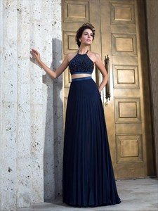 Navy Blue Halter Backless Pleated Beaded Chiffon Two Piece Prom Dress