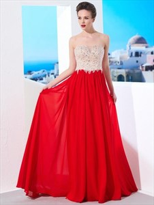 A Line Red Sweetheart Sleeveless Beaded Prom Dress With Applique