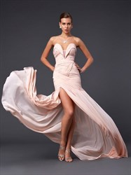 Pale Pink Sweetheart Sleeveless Ruched Chiffon Prom Dress With Split