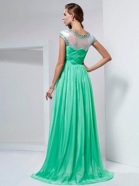 Mint Green Jeweled Neckline Cap Sleeve Ruched Chiffon Prom Dress