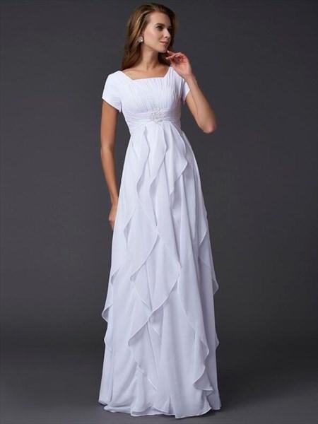 Square Neck Short Sleeve Chiffon Prom Dress With Cascading Ruffle