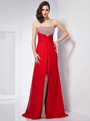 Red Strapless Sleeveless Ruched Waist Chiffon Prom Dress With Split
