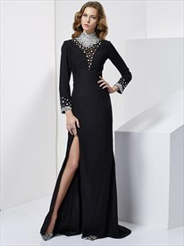 Black High Neck Long Sleeve Beaded Chiffon Prom Dress With Split