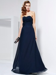 A Line Navy Blue Strapless Ruched Chiffon Prom Dress With Flowers