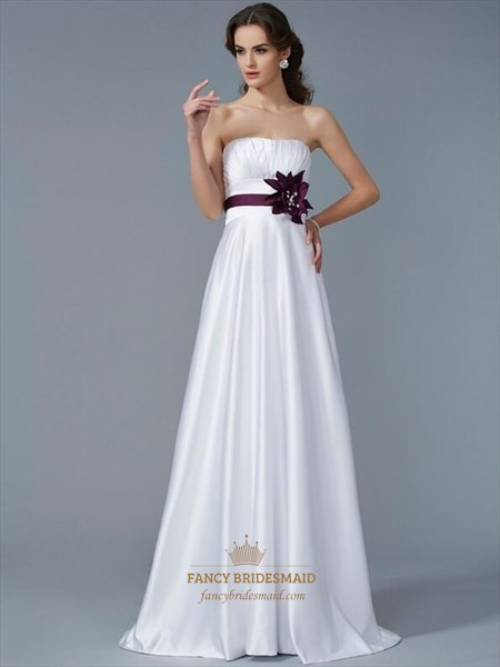 Simple White Sleeveless Ruched Satin Prom Dress With Purple Sash